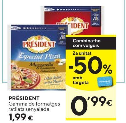 Oferta de Queso rallado Président por 1,99€
