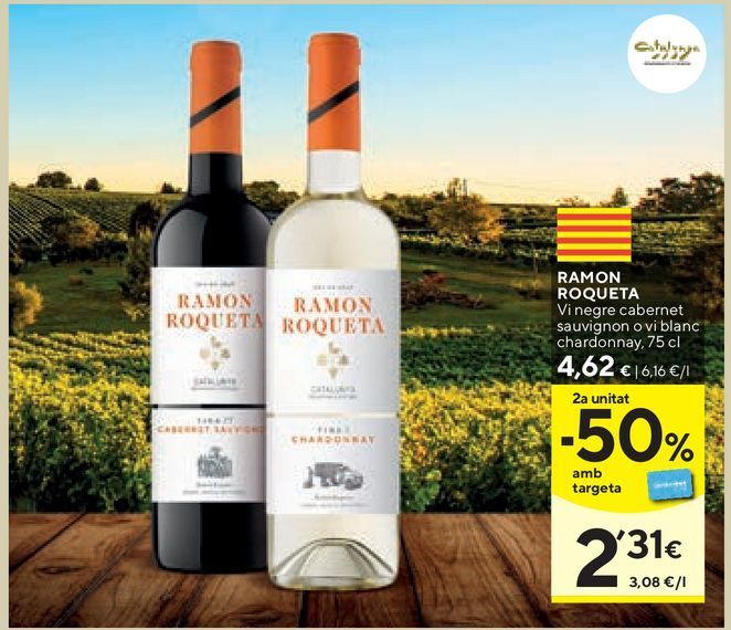 Oferta de Vino tinto Ramón Roqueta por 4,62€