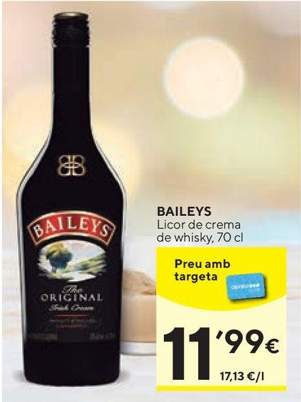 Oferta de Crema de whisky Baileys por 11,99€