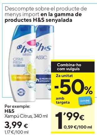 Oferta de Champú h&s por 3,99€