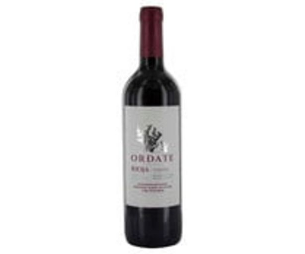 Oferta de Vino tinto con denominación de origen Rioja ORDATE botella de 75 cl. por 2,49€