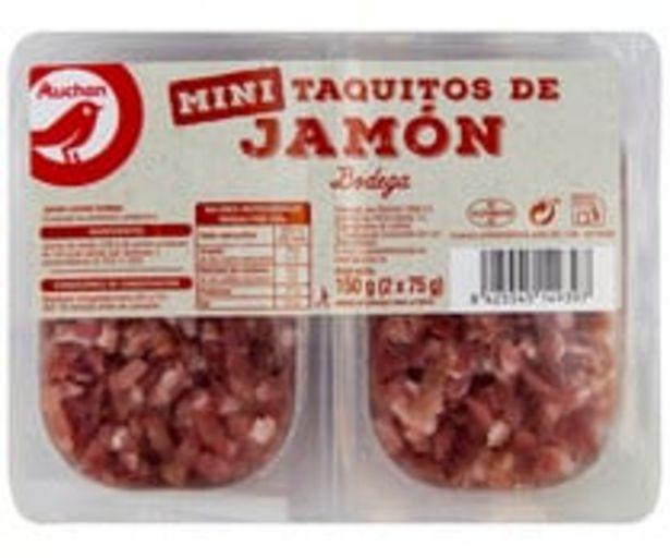 Oferta de Jamón curado en bodega, cortado en mini taquitos PRODUCTO ALCAMPO 2 x 75 g. por 1,78€