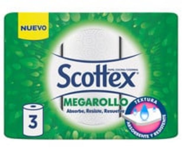 Oferta de Rollo  de cocina con calidad, absorbe, resiste y resuelve SCOTTEX MEGARROLLO 3 uds. por 1,59€