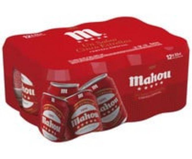 Oferta de Cervezas MAHOU 5 ESTRELLAS pack de 12 latas de 33 cl. por 7,55€