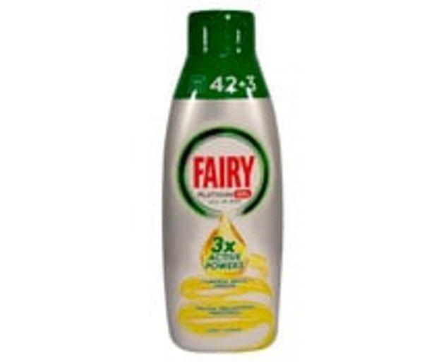 Oferta de Detergente lavavajillas gel limón FAIRY PLATINUM 42 + 3 lav. 900 ml. por 7,51€