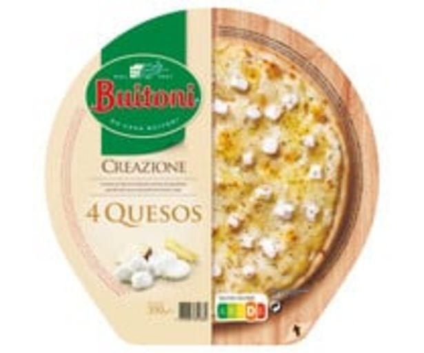 Oferta de Pizza congelada a los 4 quesos (Mozzarella, de cabra, curado y Cheddar vintage) BUITONI Creazione 350 g. por 4,49€