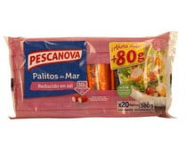 Oferta de Palitos de mar reducidos en sal PESCANOVA 20 uds. 380 g. por 1,98€