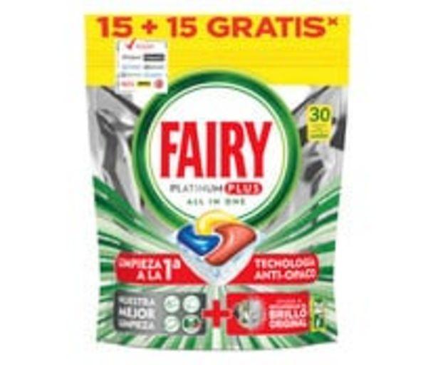 Oferta de Detergente para lavavajillas, limón FAIRY PLATINUM 30 uds. 466 g. por 5,85€
