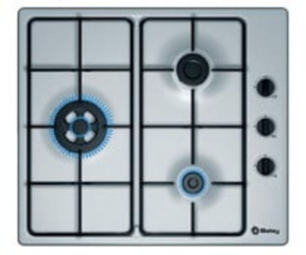 Oferta de Placa de gas BALAY 3ETX463MB integrable, acero, 3 fuegos, A: 58cm. por 129€