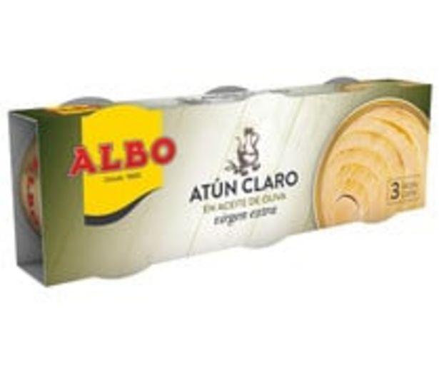 Oferta de Atún claro en aceite de oliva virgen extra ALBO pack 3 uds. 67 g. por 3,98€