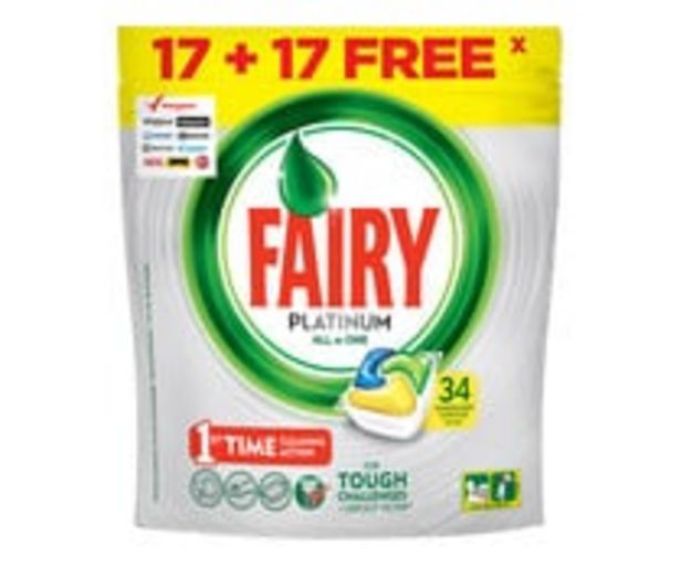 Oferta de Detergente lavavajillas máquina Platinum limón FAIRY 17 + 17 uds. por 5,85€