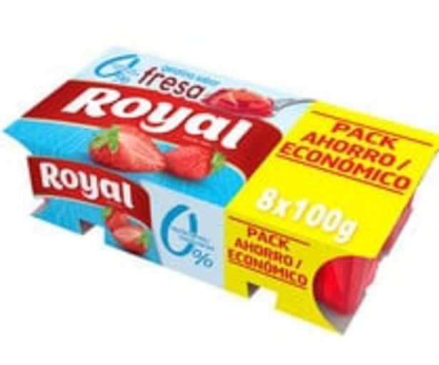 Oferta de Gelatina con 0% azucares y sabor a fresa ROYAL 8 x 100 g. por 2,75€