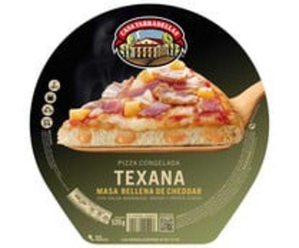 Oferta de Pizza congelada de bacon, patata asada, salsa barbacoa y com masa rellena de Cheddar CASA TARADELLAS Texana 520 g. por 4,48€