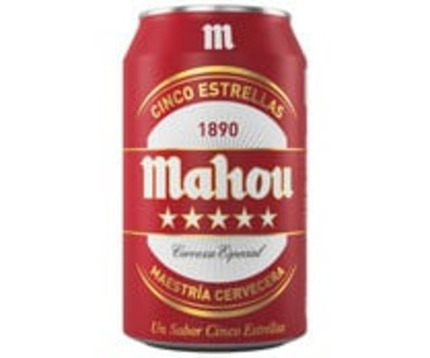 Oferta de Cerveza  MAHOU 5 ESTRELLAS Lata 33 Centilitros por 0,66€