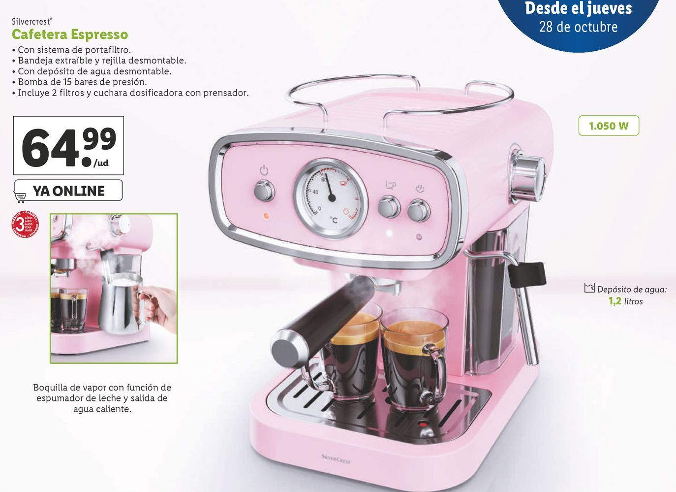 Oferta de Cafetera espresso SilverCrest por 64,99€