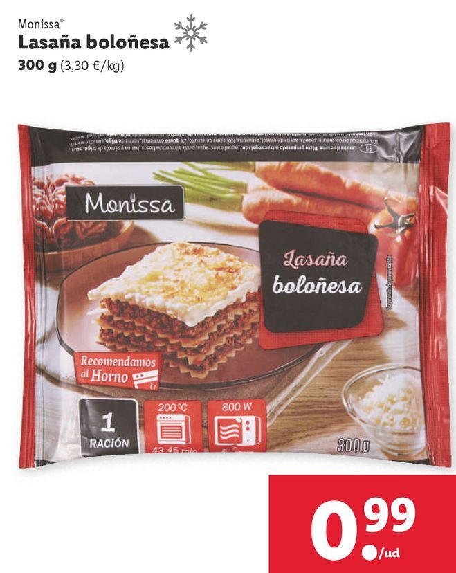 Oferta de Lasaña boloñesa Monissa por 0,99€
