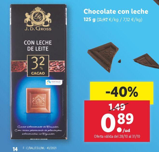 Oferta de Chocolate con leche por 0,89€