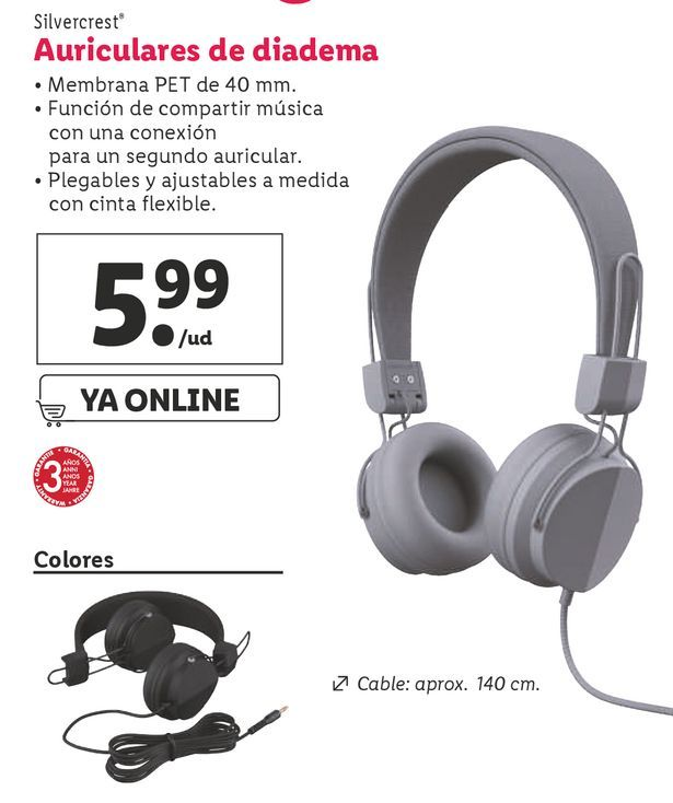 Oferta de Auriculares diadema SilverCrest por 5,99€