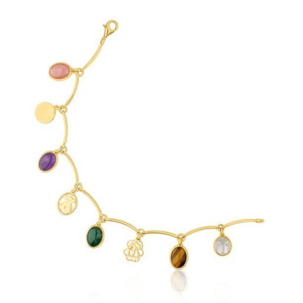 Oferta de Pulsera de plata vermeil con gemas multicolor Camee por 138€
