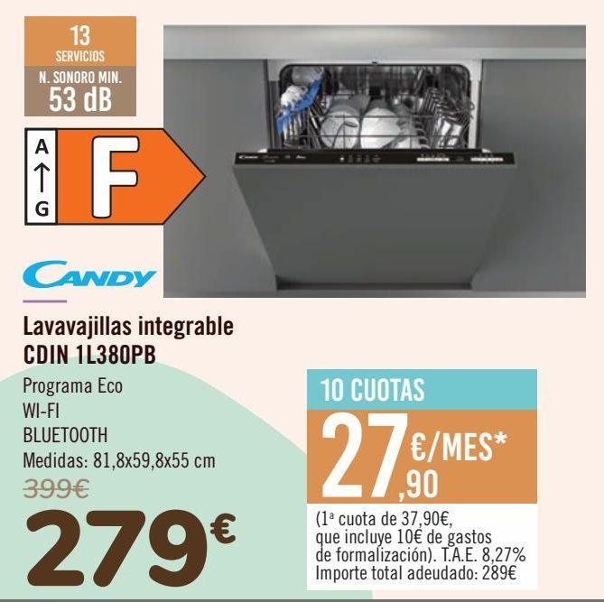 Oferta de CANDY Lavavajillas integrable CDIN 1L380PB por 279€