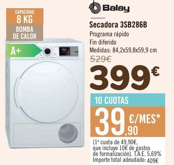 Oferta de Balay Secadora 3SB286B  por 399€