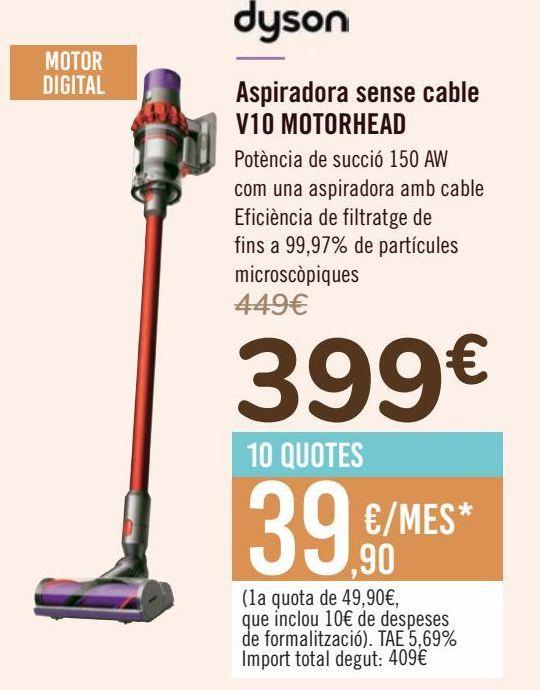 Oferta de Dyson Aspirador sin cable V10 MOTORHEAD  por 399€