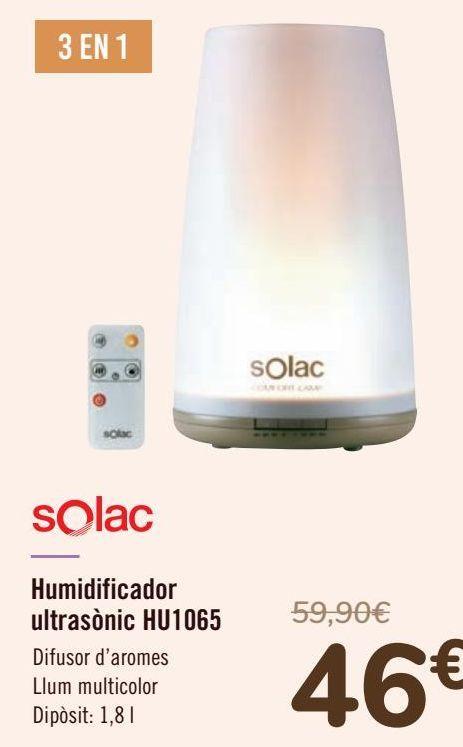 Oferta de Solac Humidificador ultrasónico HU1065 por 46€