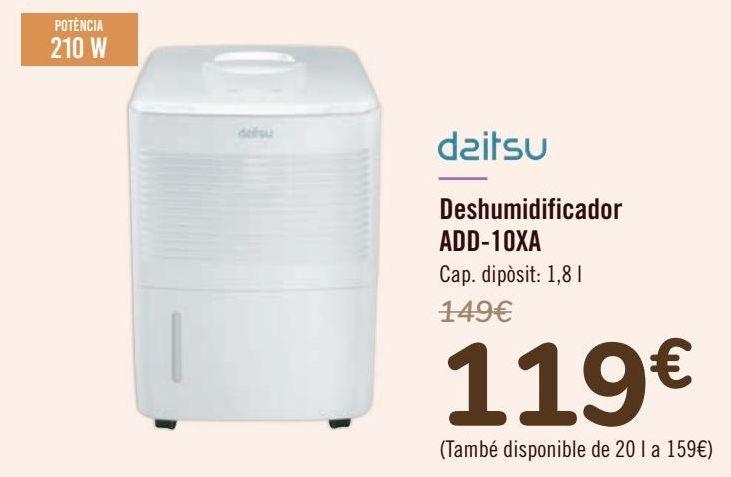 Oferta de Daitsu Deshumidificador ADD-10XA  por 119€