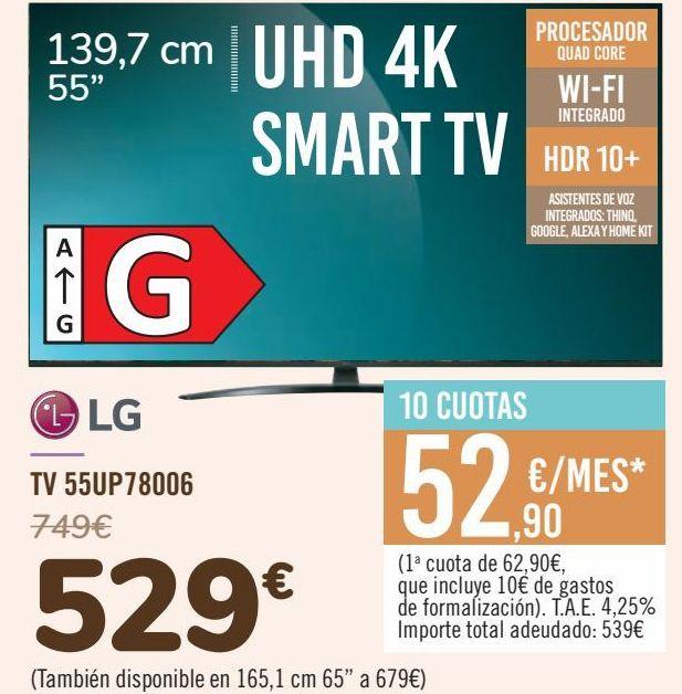 Oferta de LG TV 55UP78006 por 529€