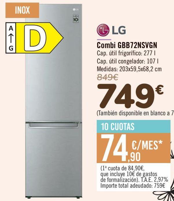 Oferta de LG Combi GBB72NSVGN por 749€
