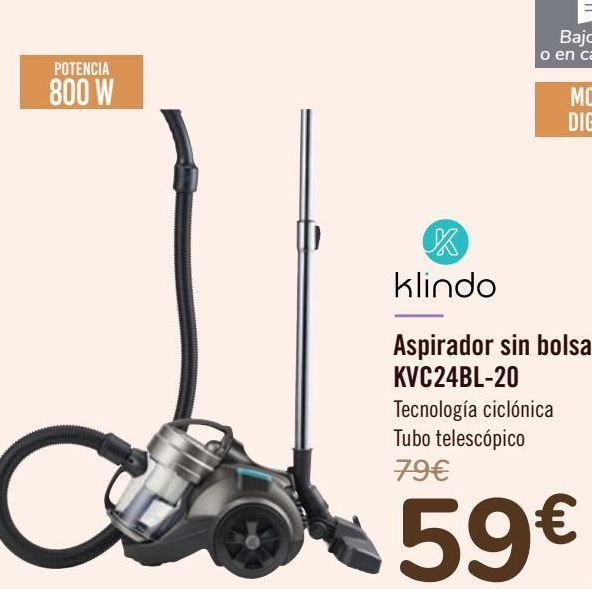 Oferta de Klindo Aspirador sin bolsa KVC24BL-20  por 59€