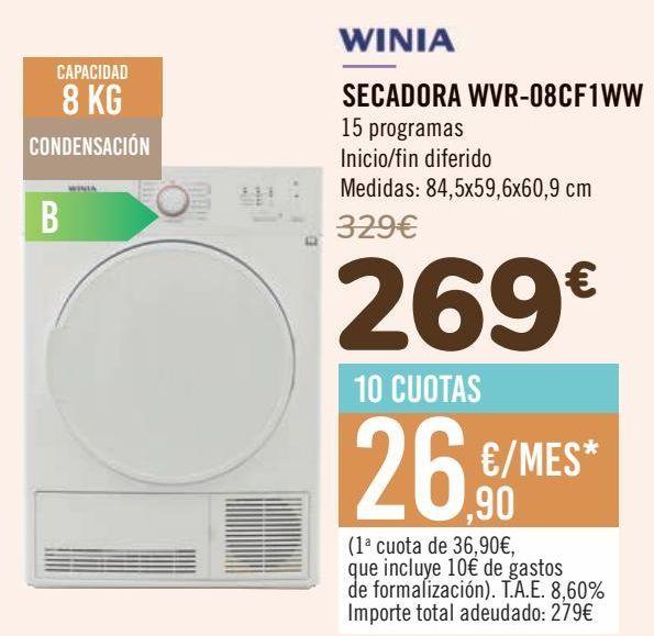 Oferta de WINIA SECADORA WVR-08CF1WW por 269€