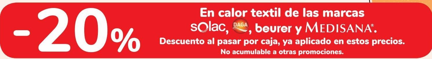 Oferta de En calor textil de las marcas Solac, Daga, beurer y Medisana  por