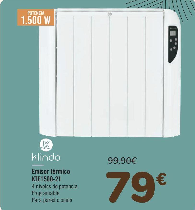 Oferta de Klindo Emisor térmico KTE1500-21 por 79€