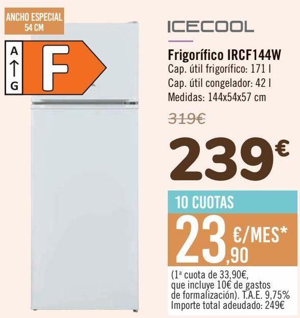 Oferta de ICECOOL Frigorífico IRCF144W por 239€