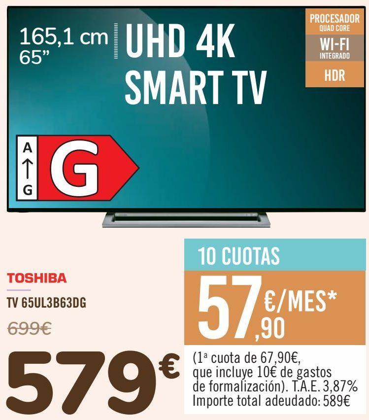 Oferta de TOSHIBA TV 65UL3B63DG por 579€