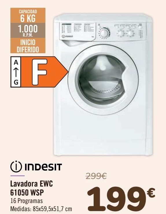 Oferta de INDESIT Lavadora EWC 61050 WSP  por 199€