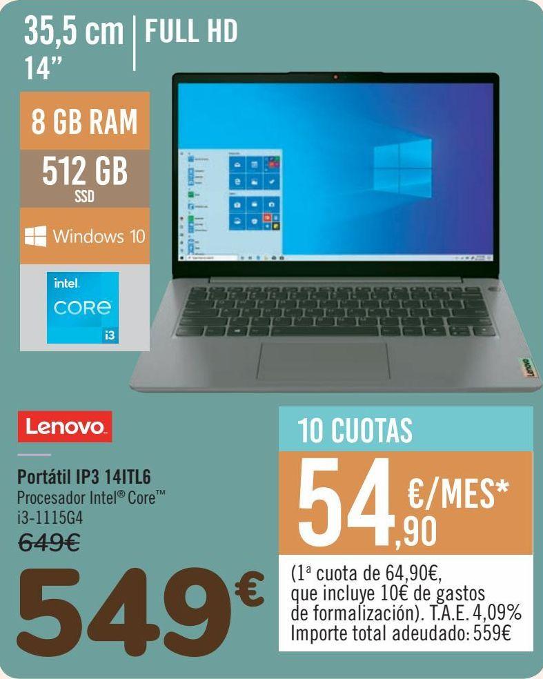 Oferta de LENOVO Portátil IP3 14ITL6 por 549€