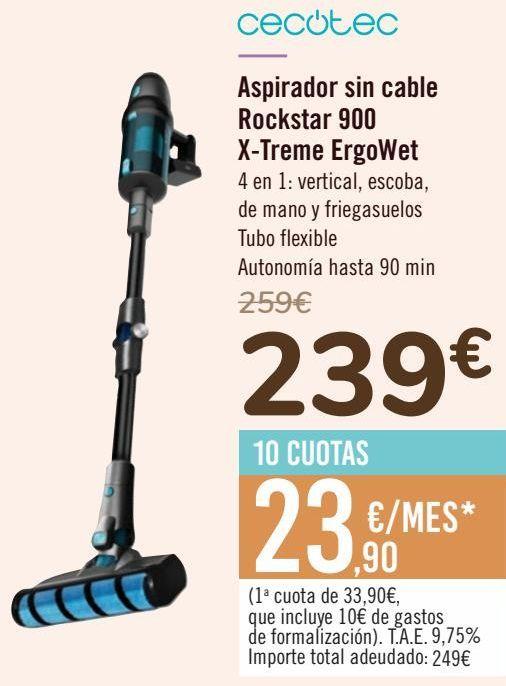 Oferta de Cecotec Aspirador sin cable Rockstar 900 X-Treme ErgoWet  por 239€
