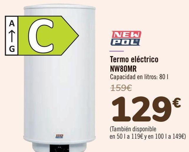 Oferta de NEW POL Termo eléctrico NW80MR  por 129€
