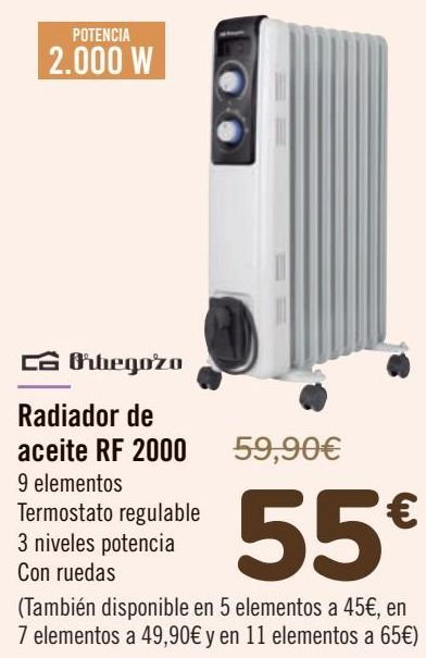 Oferta de Orbegozo Radiador de aceite RF 2000 por 55€