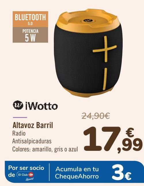 Oferta de IWotto Altavoz Barril  por 17,99€