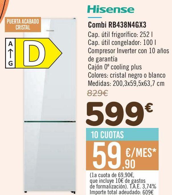Oferta de Hisense Combi RB438N4GX3 por 599€