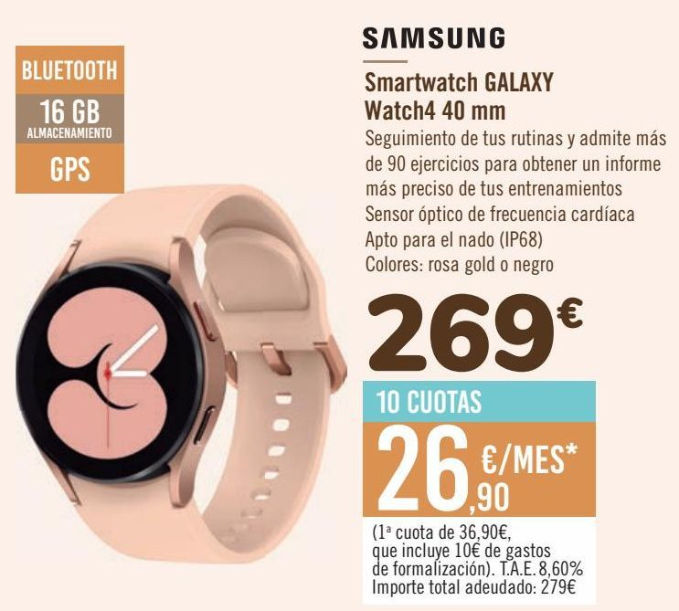 Oferta de SAMSUNG Smartwatch GALAXY Watch 40 mm por 269€