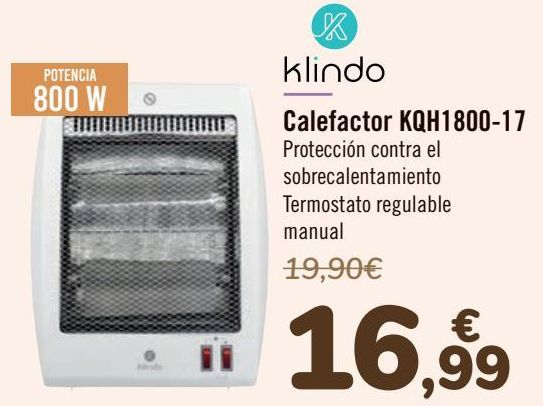 Oferta de Klindo Calefactor KQH1800-17 por 16,99€