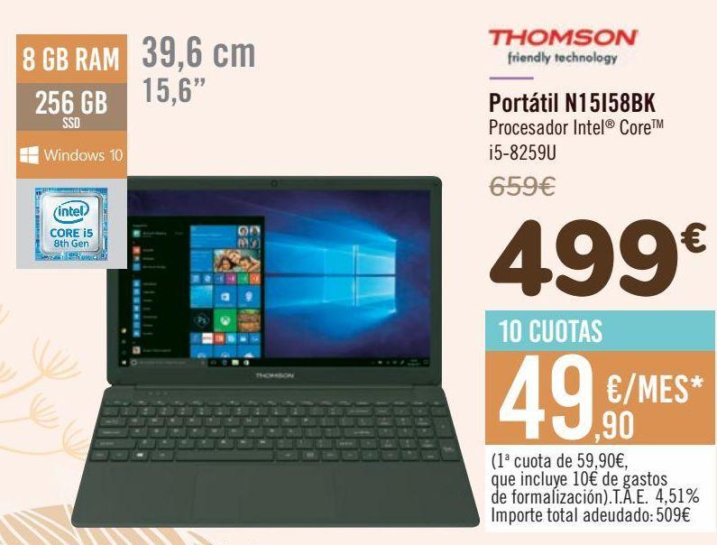 Oferta de THOMSON Portátil N15I58BK por 499€