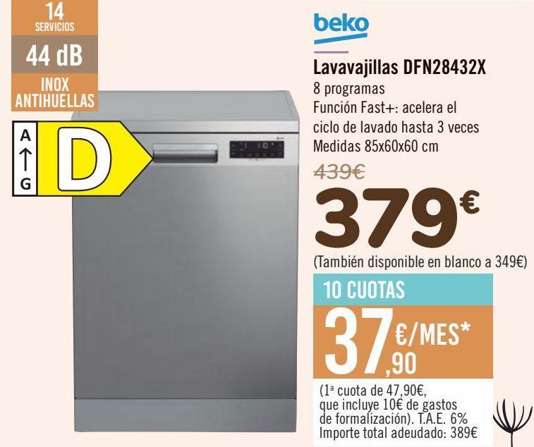 Oferta de Beko Lavavajillas DFN28432X por 379€