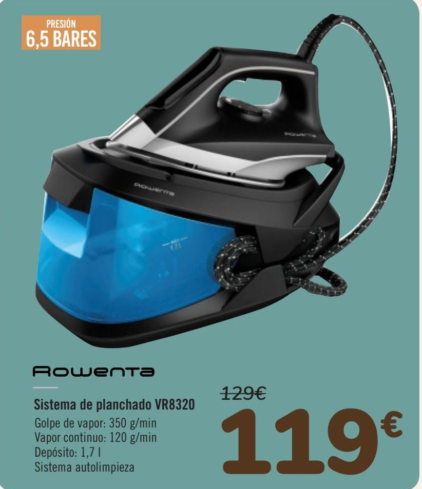 Oferta de Rowenta Sistema de planchado VR8320  por 119€