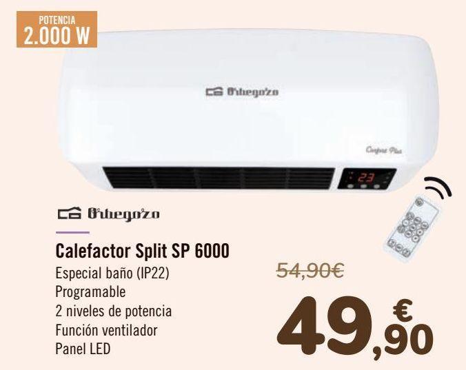 Oferta de Orbegozo Calefactor Split SP 6000 por 49,9€