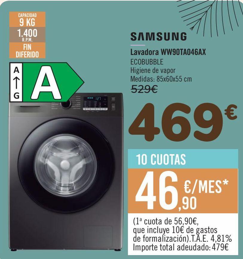 Oferta de SAMSUNG Lavadora WW90TA046AX por 469€